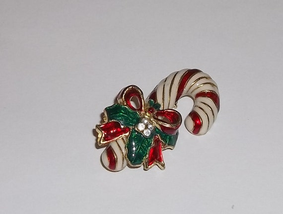 """REDUCED PRICE***Vintage Candy Cane w/ Holly Enameled Gold Tone 1 1/4"""" Brooch"""