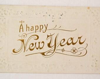 Antique Happy New Year Postcard 1909
