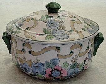 Chinese Asian Glazed Stoneware Pottery DECORATIVE CASSEROLE Flowers Butterflies