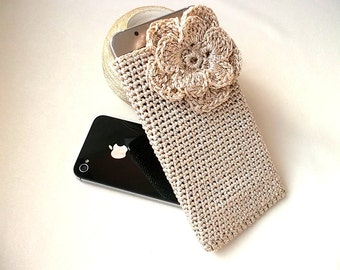 Phone sleeve, Crochet phone case with 3D flower, iPhone cover, Phone cover, iPhone7 sleeve, iPhone6s case, Shiny soft case, Phone socks