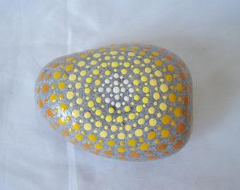 Mandala Pebble SUNRISE Mandala Dotwork Hand Painted Natural Pebble