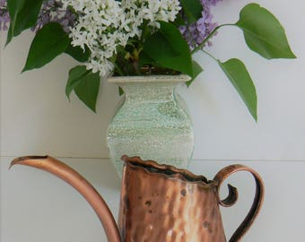 Vintage Copper Watering Can, Gregorian Copper, Small Hand Hammered Copper Watering Can, Copper Pitcher, Country Farmhouse