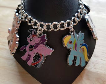 My Little Pony charm bracelet, Rainbow Dash, Twilight Sparkle Pinkie Pie