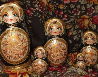 Russian matryoshka doll nesting babushka beauty girl Gold handmade