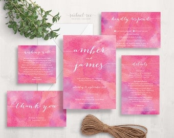 Pink Watercolour Wedding Invitation Set | Wedding Invitation Suite | Wedding Invitation Set Printable | Elegant Wedding Invitations