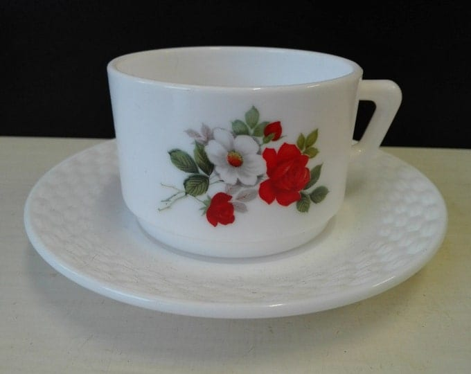 Arcopal, White and Red Rose, coffee Cup and saucers