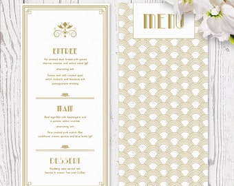 Gold and White Gatsby Themed Gold Art Deco Wedding Menu Printed on Luxury Cardstock | Premium Cardstock | Peach Perfect Australia