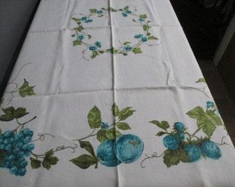 Vintage Floral Fruits Linen Tablecloth Blue Green 47 1/2 x 49 1/2  -  EUC