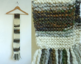 striped scarf, handmade scarf, acrylic crochet scarf, fall scarf, winter scarf, 70s scarf, 1970s scarf off white gray olive green brown