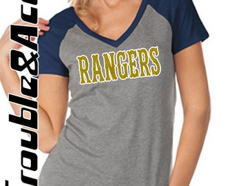 Glitter Rangers Baseball Shirt, Women's Baseball Tee, Raglan V-Neck Shirt, FV Rangers with Player Number Baseball Mom Shirt