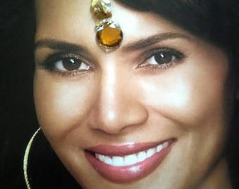Chakra Healing Crystal Bindi | Indian Wedding  Jewelry| Bollywood | Festival Fashion| Third Eye Forehead Sticker |Long Bindi Pack of 3