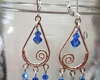 Sterling Spiral Teardrop Earrings with Sapphire Swarovski Dangles - Long, Stunning, Elegant, Icy Blue, Long, Valentines Day
