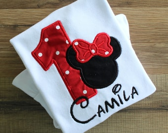 Minnie Mouse 1st birthday shirt. Minnie Mouse shirt.