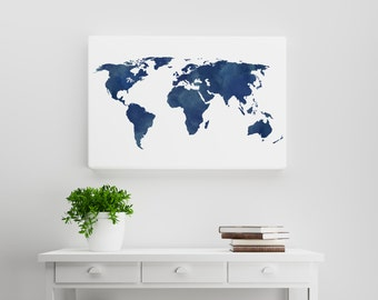 World map download etsy watercolor midnight and navy blue world map a watercolorerd distressed rustic world map gumiabroncs Choice Image