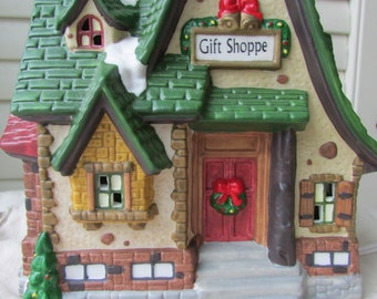Lighted House,Gift Shoppe,Illuminated hand painted porcelain,Christmas village collectibles,Holiday/Christmas Decor,St. Nicholas Square
