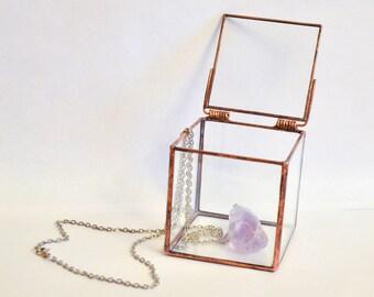 Glass geometric ring box Cube. Wedding decor and jewellry box