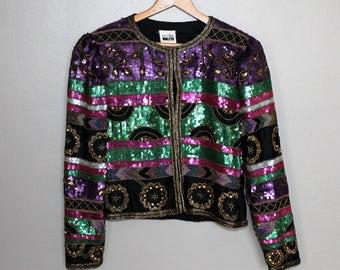 80s Vintage Silk Sequin Jacket Rave Club Kid Festival Beaded Flapper Deco Trophy Pink Purple Green Black