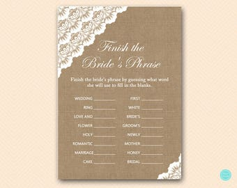 finish bride's phrase, finish the phrase, bridal advice card, Burlap, Lace, Rustic Bridal Shower Games, Games, Wedding Shower Games BS34