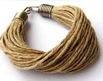 Linen bracelet, linen, cord, hemp, metal, summer gift, Linen Fiber Bracelet, Natural Linen, Minimalist Jewelry, Linen Cord Bracelet,