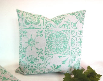 Azulejos tile print~Turquoise metallic print~cushion cover~pillow cover~natural pearl grey~poly-cotton mix~sturdy fabric~Portuguese tiles