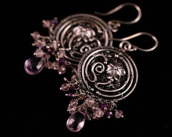 Sterling Silver Fine Jewelry a121- gemstones artisan hand embroidery . flowers bohemian chic . fine silver . amethyst stone and rose quartz