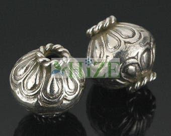 HIZE SB421 Thai Karen Hill Tribe Silver Balloon Barrel Oval Bicone Focal Beads 12mm (4)