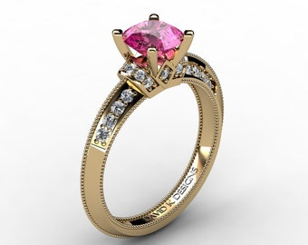 Classic 14K Yellow Gold 1.0 Ct Pink Sapphire Diamond Solitaire Engagement Ring R1126-14KYGDPS