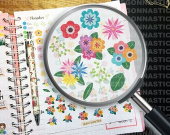 92 Flower Stickers | Ideal for planners, calendars, journals, scrapbooks and more