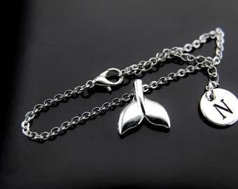 Mermaid Bracelet, Silver Mermaid Tail Charm Bracelets, Whale Tail Charms, Fantasy Adjustable Bracelet, Personalized Bracelet, Initial Charms