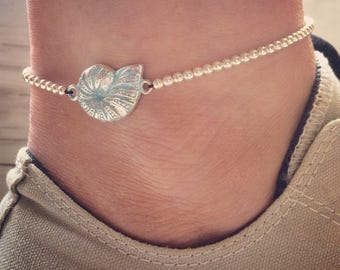 Sterling Silver Anklet/Ankle Bracelet with Nautilus Shell Charm,  Beach Jewellery, Surf Style.