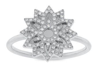 Unique Intricate 0.19ct 14k White Gold Diamond Snowflake Lady's Ring