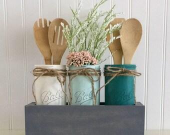 Planter Box, Mason Jar Decor, Utensil Holder, Planter Box Centerpiece, Mason Jar Planter Box, Mason Jar Centerpiece, Kitchen Decor, Jars