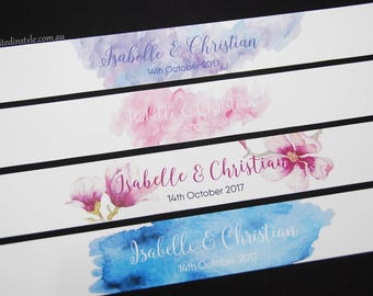 Wedding Invitation Belly Band, flat printed design - custom sizes - choose your quantity/colour