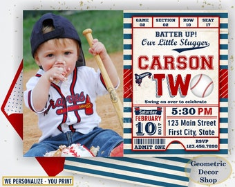 Second Birthday invitation Vintage Baseball Sports Invite 2nd All star invitations One Ball red blue invites photo photograph ticket BDSP14