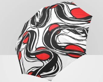 Aiko Automatic Foldable Rain Umbrella - Red, White & Black