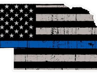 Nebraska State (V28) Thin Blue Line Vinyl Decal Sticker Car/Truck Laptop/Netbook Window