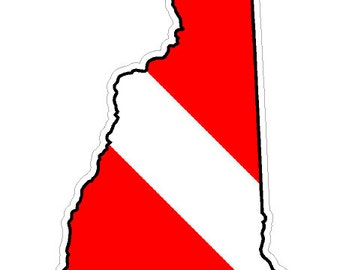New Hampshire State (B30) Diver Down Flag Yeti Tumbler Decal Sticker Laptop