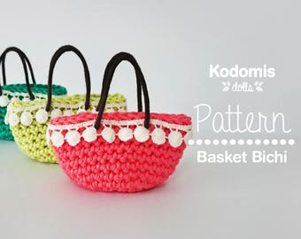 Pattern PDF - Bag Basket Bichi - Escale 1:6 for Blythe, Pullip, Barbie, Momoko or similar - DIY