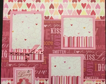 LOVEY DOVEY Premade 12x12 scrapbook page