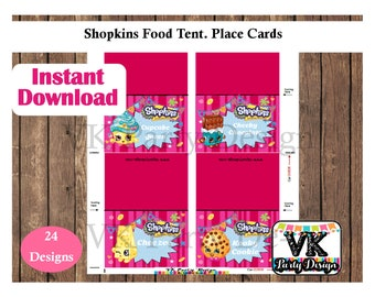 Shopkins and Shoppies Food Labels. Tent Cards. Instant Download or  Cutomized Cards