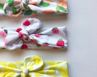 Peach Strawberry and Lemon · Top Knot Headbands / Adjustable Headband / Head Wrap / Infant Headband / Top Knot / Baby Style / Set of 3