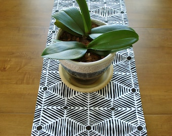 Table Accessory / Dining Table Runner / Decorator Runner / Black and White Aztec Design / Buffet Runner / Spring Table/Made To Order