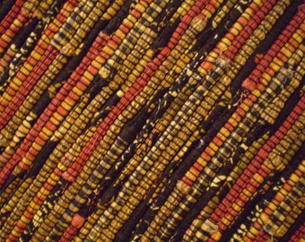 Black, Gold, Dark Red Rag Rug Runner