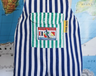 Vintage Striped Overalls / Nautical Toddler Overalls / 1990's Boy Overalls / Vintage Toddler Boy Romper / Vintage Summer Clothes / Size 3T