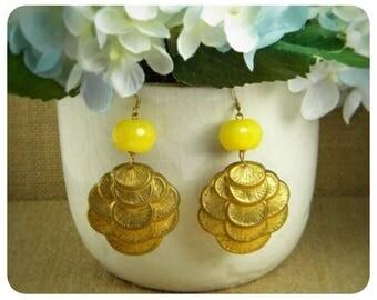 Yellow Jade, Brass Stamp Earrings