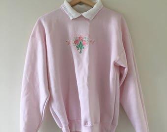 Pastel Pink Babydoll Floral Lace Sweatshirt