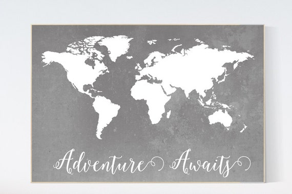 Gray world map poster world map nursery art print babys like this item gumiabroncs Images