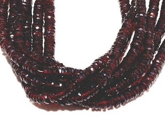 ON SALE 50% Garnet Heishi Beads, Mozambique Garnet Spacer Beads, Micro Faceted 5mm Each, 7.5 Inch Half  Strand, Wholesale Price, Gemstone Be