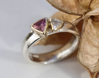 Pink Tourmaline & White topaz Silver and Gold Ring by RogerSquiresDesign