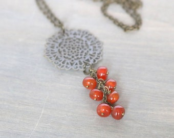 Carnelian Long Necklace - Gemstone Necklace, Pendant Necklace, Bronze Necklace, Burnt Orange Necklace, Boho Necklace, Dangle Necklace